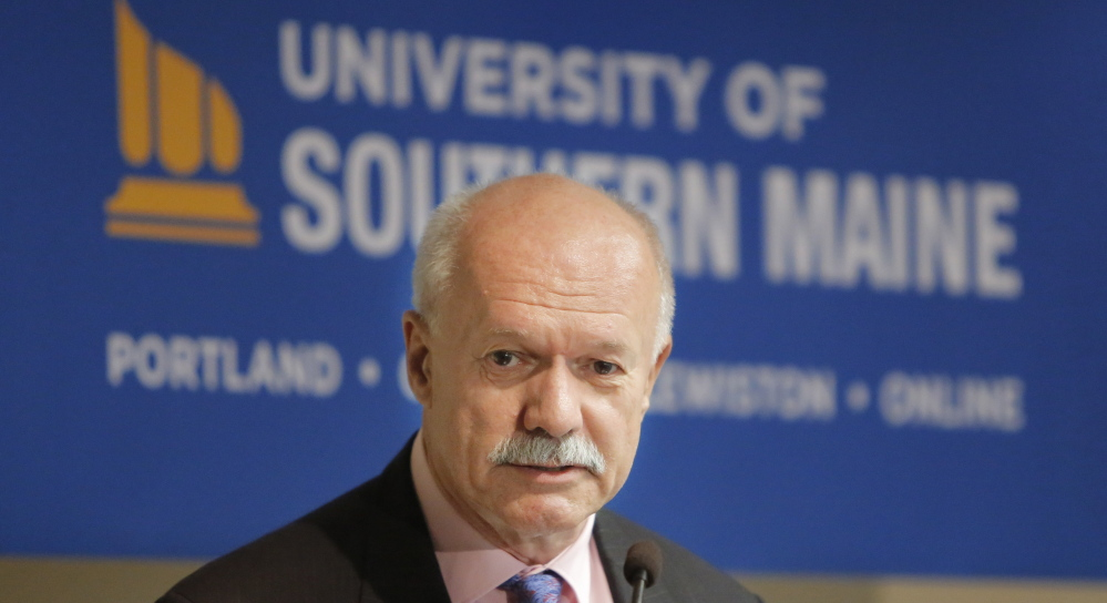David Flanagan was named the interim president of the University of Southern Maine during a news conference Wednesday at USM.