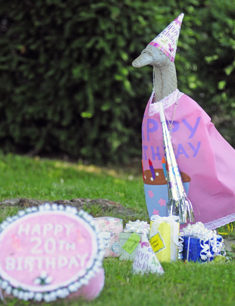 """Georgie wears birthday attire Wednesday. Marjorie Scott has been dressing up the goose daily for 20 years because of the joy she and the goose could bring to others. """"Everyone loves him,"""" she said."""