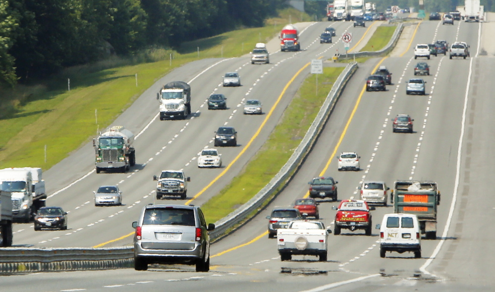 Vehicles travel the Maine Turnpike in York on Wednesday. For commercial traffic, this year's increase has been focused in southern Maine.