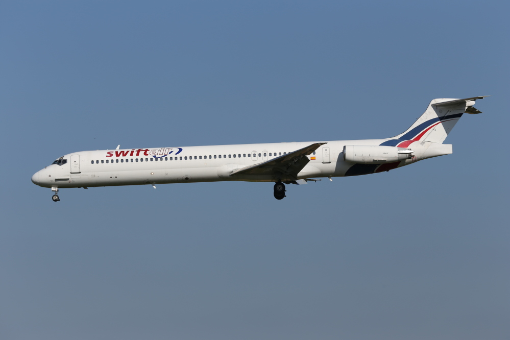 An MD-83 aircraft in the Swiftair fleet, similar to the one that has disappeared over Mali, lands at Zaventem Airport in Brussels on May 16. Air Algerie Flight 5017 was being operated by a Spanish crew of six and had 110 passengers, half of whom were French.