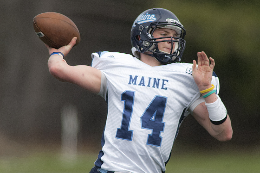 Dan Collins is a redshirt sophomore vying to become starting quarterback for the University of Maine Black Bears.