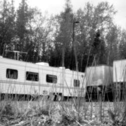 The pinhole camera captures the trailer home of a Passamaquoddy tribal member in the parking lot of the now-closed Creative Apparel Associates building in Indian Township. Changes in tribal leadership in 2010 did not lead to a longtime goal: enacting a tribal constitution.
