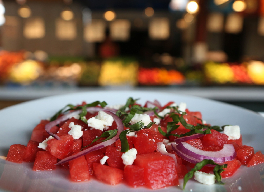 Watermelon, Feta and Basil Salad is popular because its flavors suit each other perfectly.