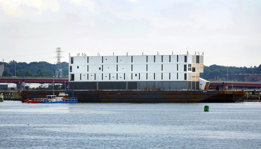 Google's barge, with a four-story structure that raised curiosity from the time it arrived in Portland Harbor, was moved across the Fore River on Wednesday – on its way to oblivion.