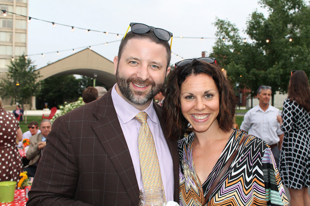 """Bryan and Jen Shumway of Scarborough donning their complimentary """"shades"""" at The Contemporaries Midsummer party in Portland."""