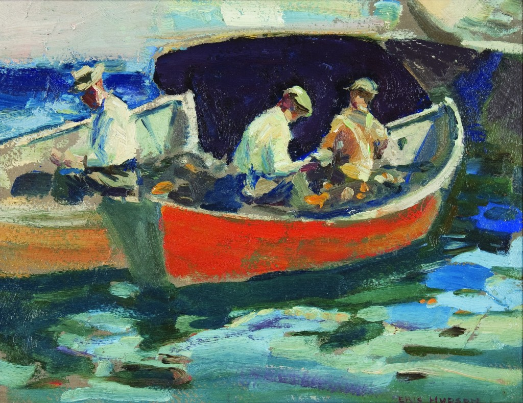 "Eric Hudson's ""Fishermen and Boats"" Courtesy The Monhegan Museum"