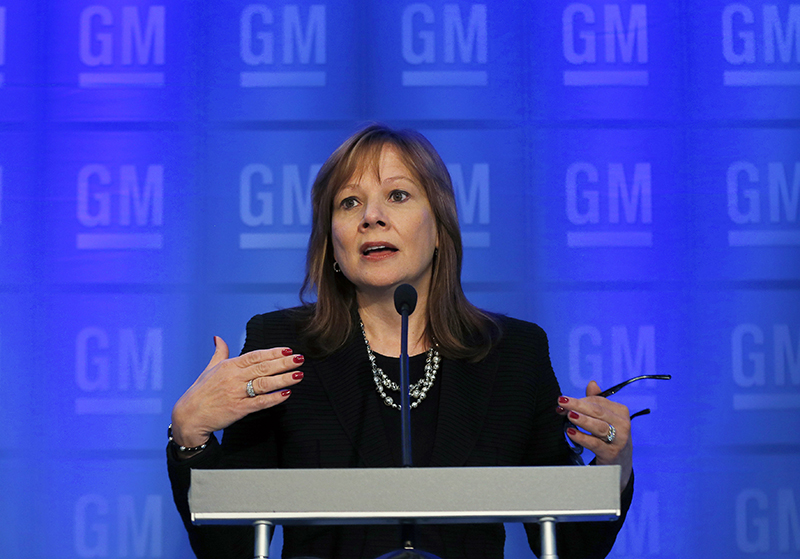 General Motors CEO Mary Barra speaks during a news conference prior to the company's annual shareholder meeting in Detroit, Tuesday, June 10, 2014. The Associated Press