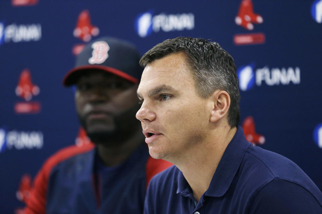 Boston Red Sox general manager Ben Cherington speaks at a news conference about the agreement between the team and player David Ortiz that all but assures the popular slugger will finish his career in Boston. The Associated Press