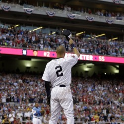 Derek Jeter, who will retire after this season, waves to the crowd in Minneapolis as he is taken out of his last All-Star game in the top of the fourth inning Tuesday.