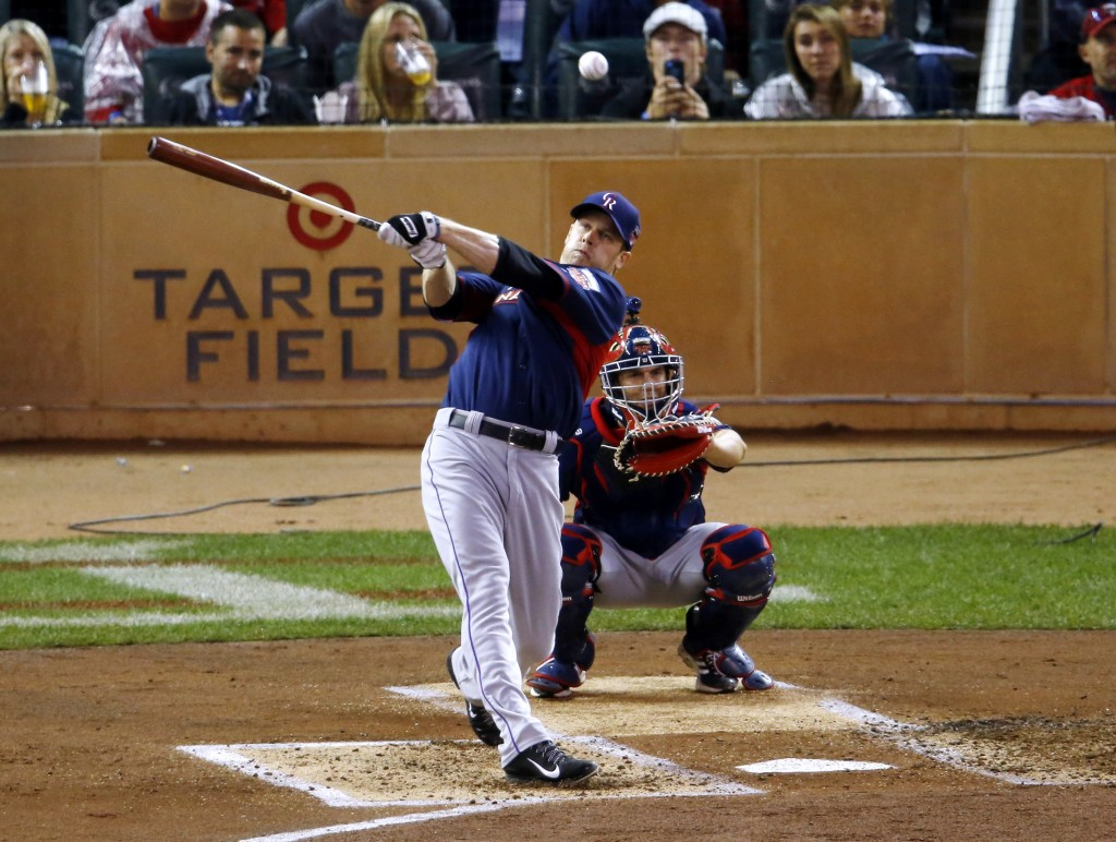 Justin Morneau, a former Minnesota Twin who now plays for the Colorado Rockies, hits during the Home Run Derby on Monday in Minneapolis.