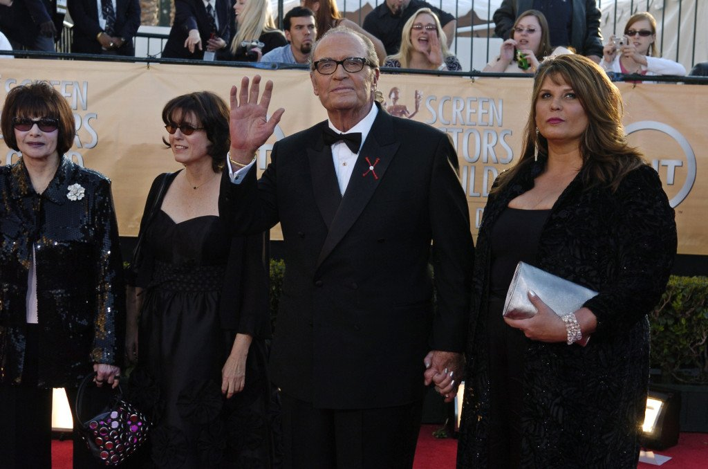 James Garner, who received  the 41st annual life achievement award in February 2005, arrives with his family, including his wife Lois Clarke. The Associated Press