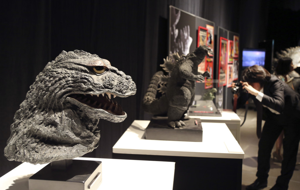 Various Godzilla models are displayed during a press preview of the Godzilla Expo in Tokyo this month.