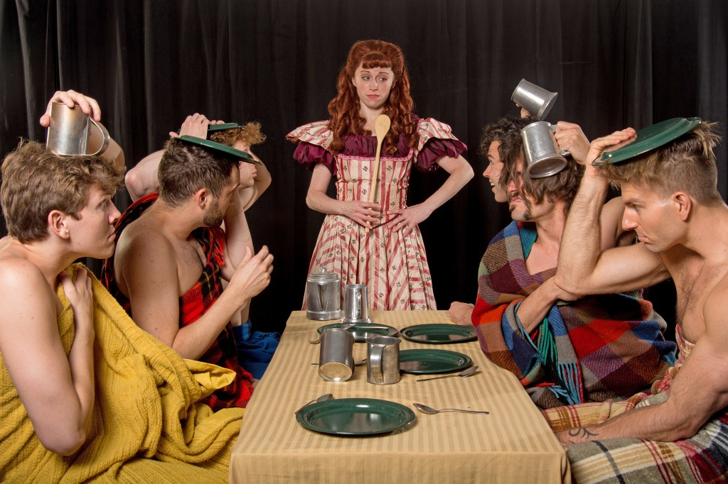 From left, Alex Larson (Gideon), Eric Stretch (Caleb), J. Morgan White (Daniel), Heidi Kettenring (Milly), Michael R. Clement (Ephraim), Eric Sciotto (Frank) and Karl Warden (Benjamin) in a scene from Maine State Music Theatre's