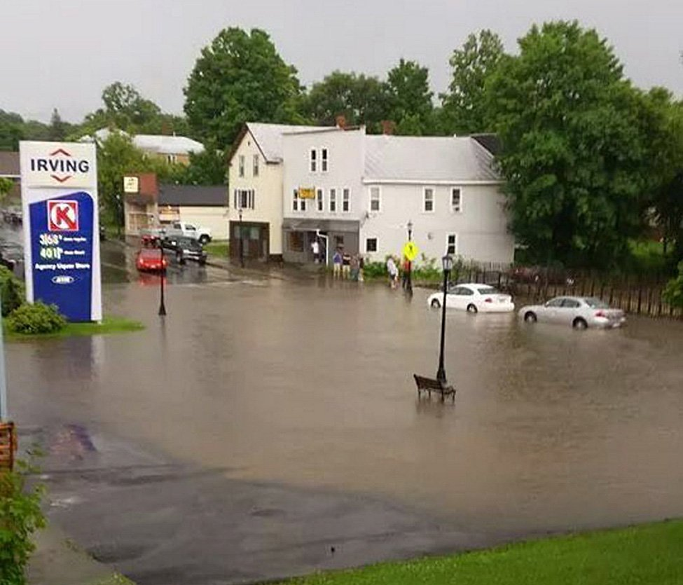 Main Street in Madison was flooded when a strong storm moved through Tuesday night.