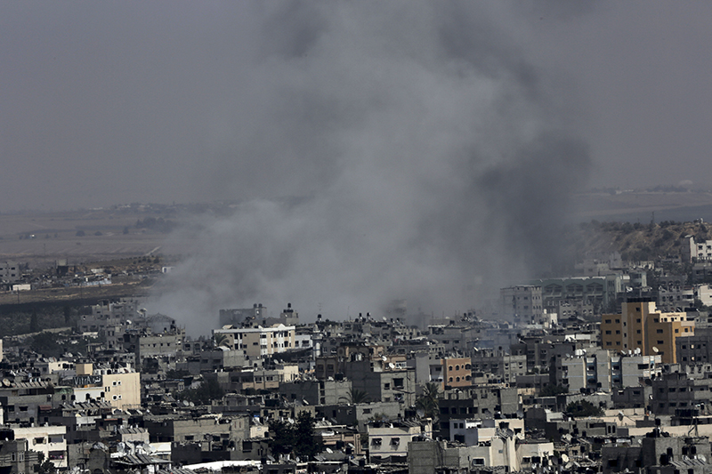 Smoke from Israeli strikes rises over Gaza City, in the northern Gaza Strip, in the northern Gaza Strip, Wednesday. The Associated Press
