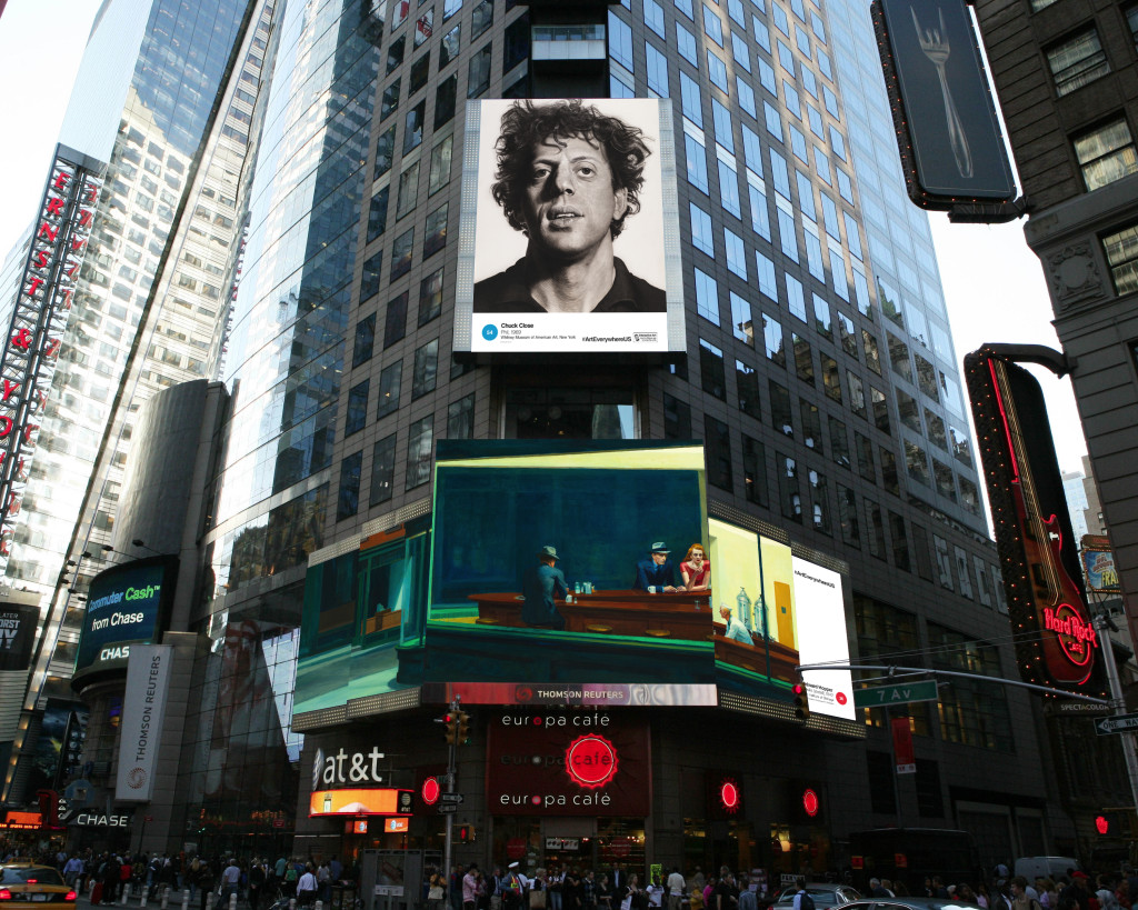 This artist's rendering provided by Art Everywhere U shows, a display in New York's Times Square featuring Chuck Close's