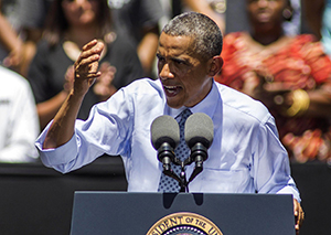 President Barack Obama speaks about the economy at the Los Angeles Trade-Technical College in Los Angeles, Thursday. The Associated Press