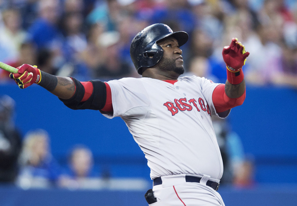 David Ortiz hits his second two-run home run of the game during the fifth inning of Monday's game against the Toronto Blue Jays in Toronto.