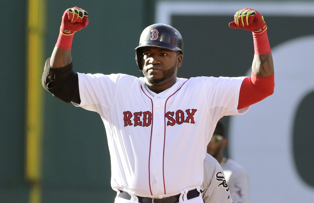 David Ortiz celebrates a two-run double that broke a 1-1 tie in the sixth inning Thursday.