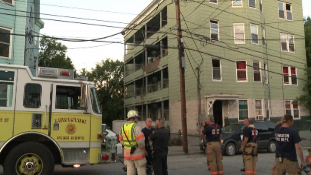 Firefighters respond to the scene of a fire on Blake Street in Lewiston on Thursday night.
