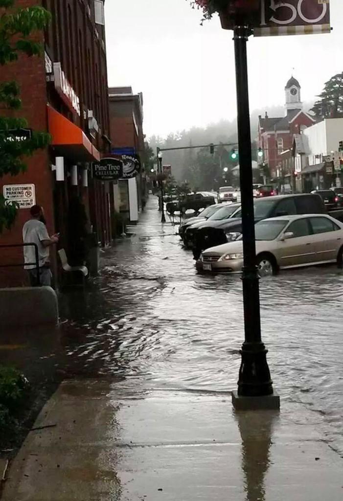 Flash flooding hit downtown Farmington Tuesday.