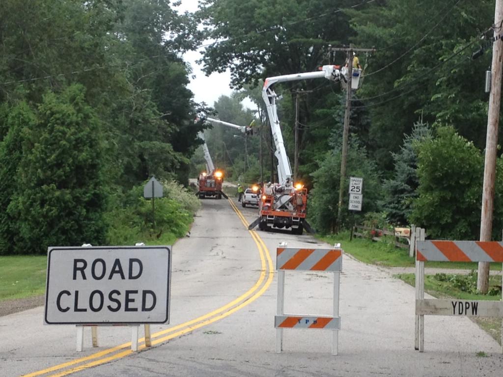CMP crews work on power lines along Organug Road In York.