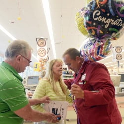 "Barbara and Peter Jordan, customers from Old Orchard Beach who traveled daily to the Biddeford store to offer their support to picketing workers, arrived Thursday with a bouquet of balloons and presented them to assistant manager Keith McGee, who hugged the couple. Barbara Jordan said she was impressed by the workers' loyalty to Arthur T. Demoulas.  ""He has to be a special man to have that long-lasting support,"" she said.  McGee, a 21-year employee, said that people who work at Market Basket view their jobs as life-long commitments. ""This is a company we built,"" he said. ""We called this a career for so many years, and the thought of losing our careers and this becoming just another job was positively frightening."""