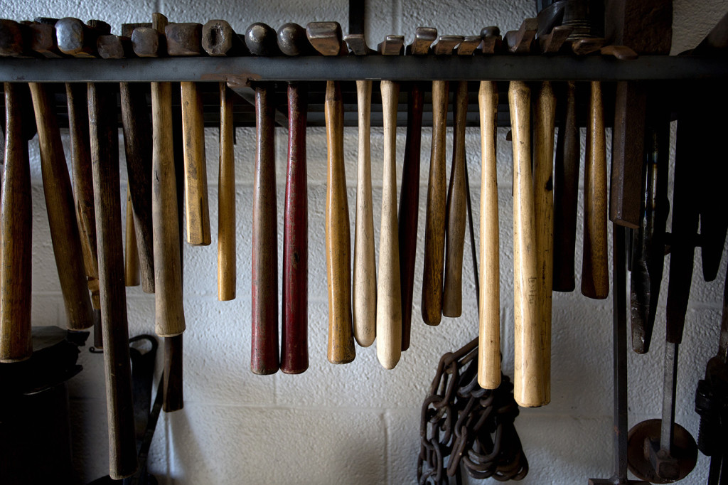 """A variety of hammers sit waiting for students to use them at a blacksmithing class called """"Cooking with Fire"""" at the New England School of Metalwork in Auburn."""