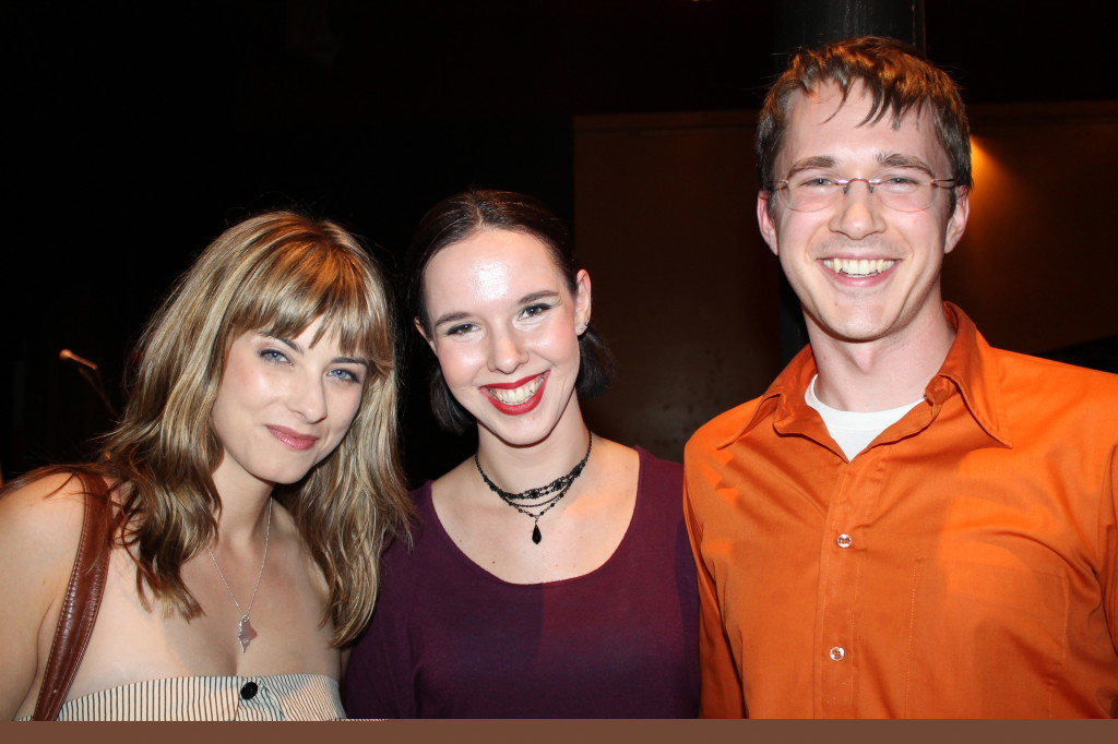 Heather Libby of Portland, left, joins Ali Berry, artistic director of Portland dance company Vivid Motion, and fellow dancer Erik Monty at the Allagash Victor Ale Tasting benefit for St. Lawrence Arts.
