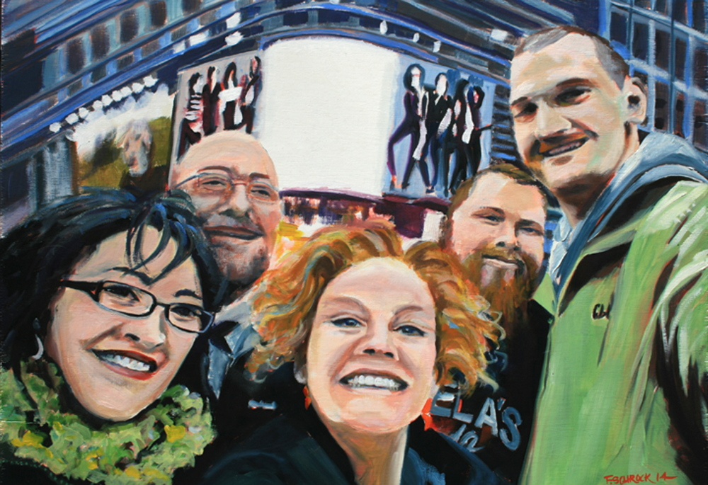"""NYC Selfie"" by Francine Schrock at The Sharpe Gallery in Kennebunk."