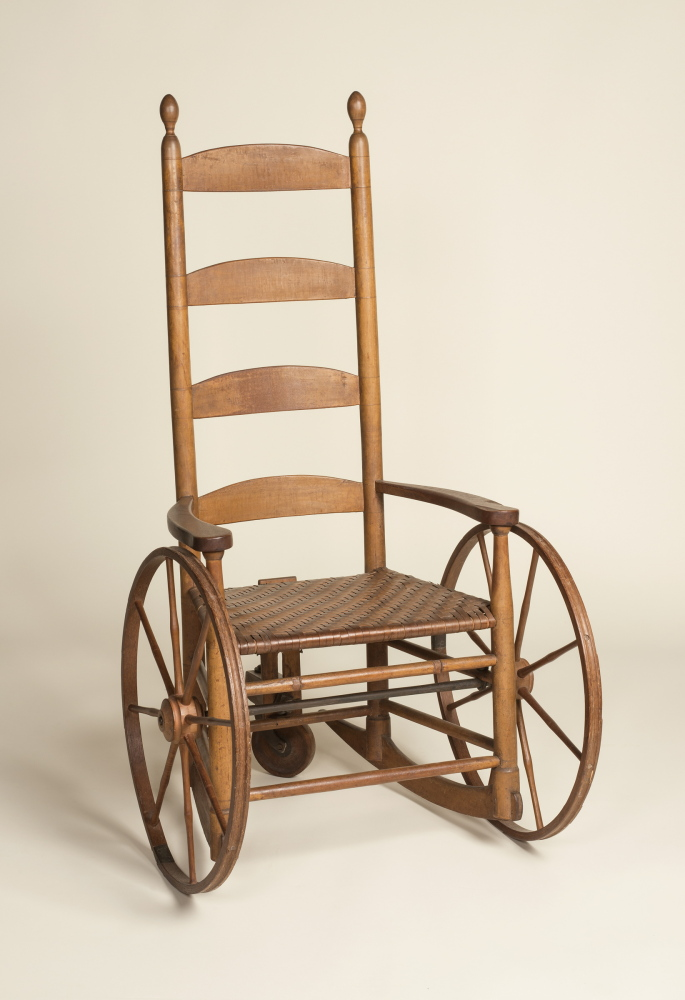 Photo credit: Alan LaValle.   Rocking Armchair Adapted to a Wheelchair, 1810-1830, Maker Unknown. Collection of the Shaker Museum  Mount Lebanon, New Lebanon, New York.
