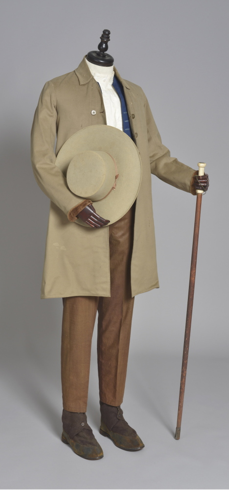 The brethrens' meeting uniform, c. 1870, includes a wool hat, coat, vest and pants; suede and wool boots; cotton shirt; and a wood and ivory walking stick. The brethrens' meeting uniform, c. 1870, includes wool and cotton clothing, suede and wool boots, and a wood and ivory walking stick.