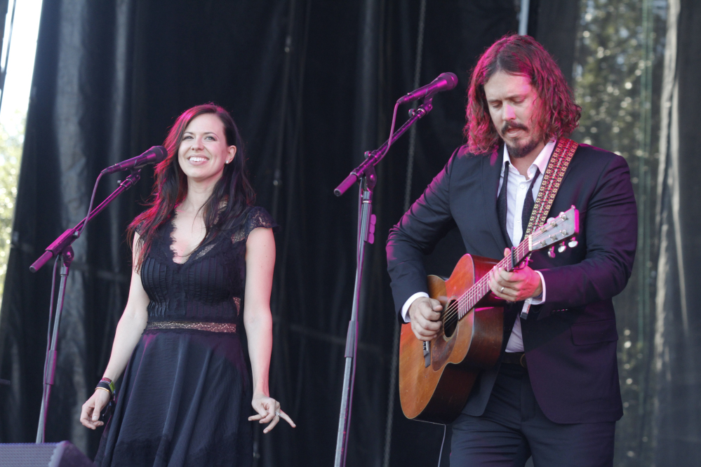 John Paul White, right, and Joy Williams of The Civil Wars perform in Austin, Texas. Williams and White issued a statement on their website Tuesday announcing the decision to split.