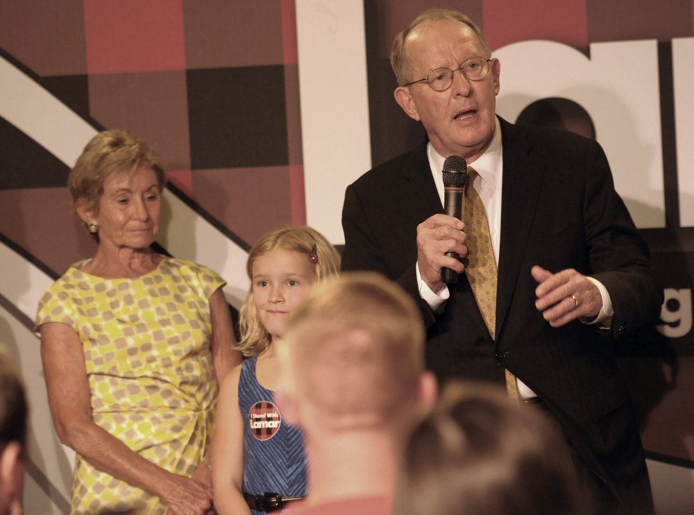 Sen. Lamar Alexander of Tennessee talks to supporters after winning his primary against Joe Carr on Thursday. Tea party challengers lost all six challenges to incumbent senators this year.