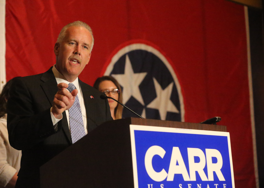 Joe Carr concedes to Lamar Alexander on Thursday night in Tennessee's primary for the U.S. Senate now held by Alexander. Republicans blame tea party candidates for squandering the party's shot at control of the Senate in the 2010 and 2012 elections.