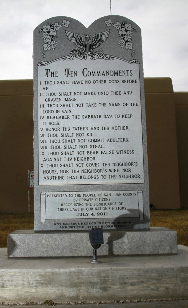 The Ten Commandments monument stands on the lawn at Bloomfield City Hall in Bloomfield, N.M.