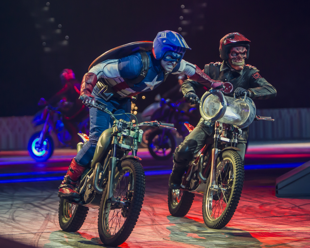 "Performers dressed as Marvel characters appear in the new live arena show called ""Marvel Universe Live!"" The show has begun an 85-city tour over the next two years."