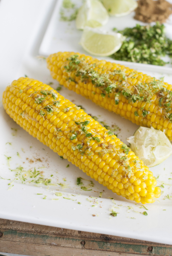 Corn on the cob with chili lime seasoning.