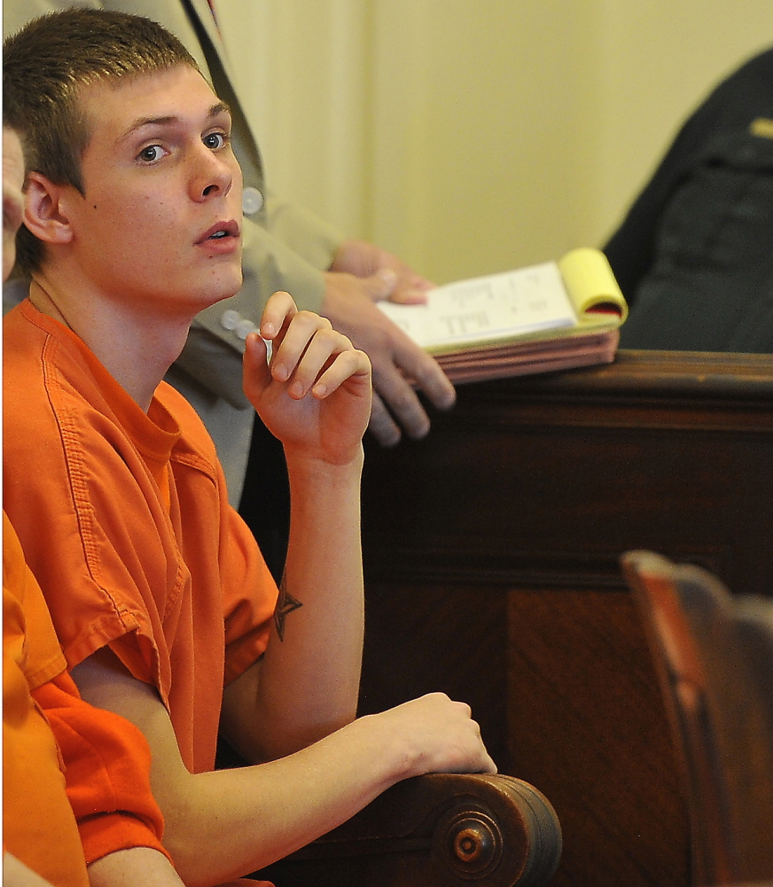 Anthony Carpinelli awaits his arraignment  in York County Superior Court in Alfred on Friday.