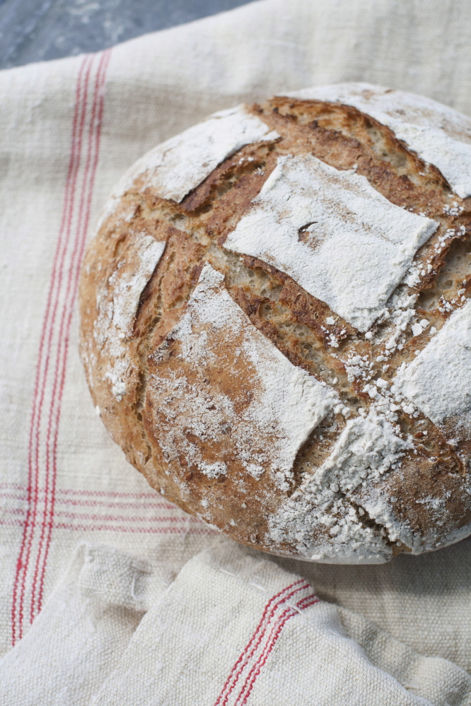 Dutch oven multigrain bread has a soft yet hearty interior.