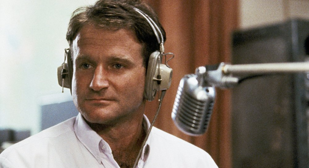"""Robin Williams is shown in character as real-life disc jockey Adrian Cronauer in """"Good Morning, Vietnam."""" He made us look at ourselves in ways that challenged and shocked us."""