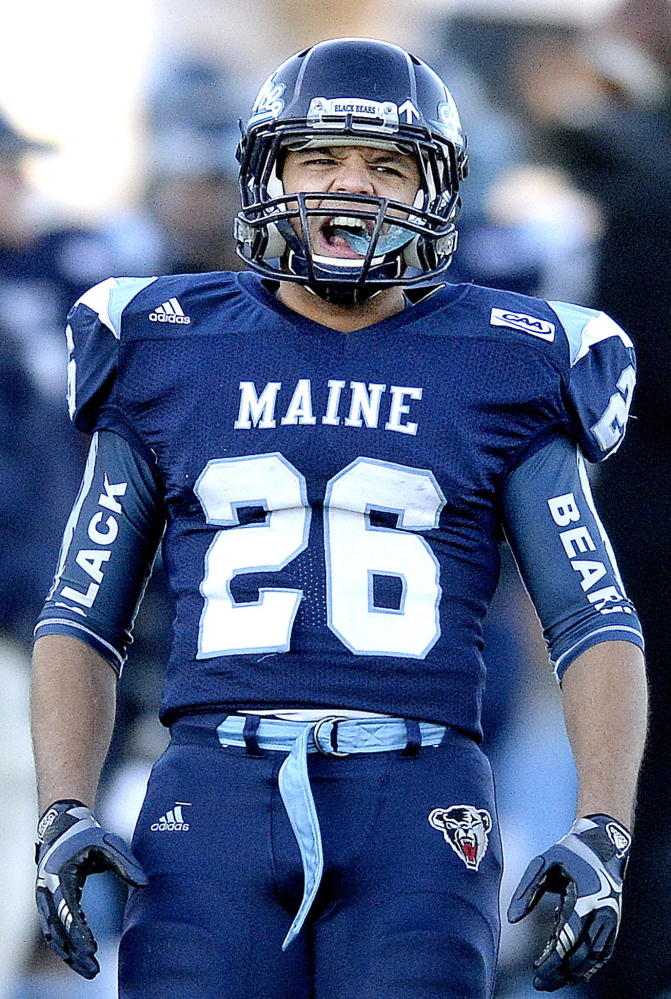 Nigel Jones may get some competition, but right now he's the starting tailback for the University of Maine after gaining 596 yards and scoring eight touchdowns last season. Jones also is working on pass receptions with Dan Collins, the possible starting QB.