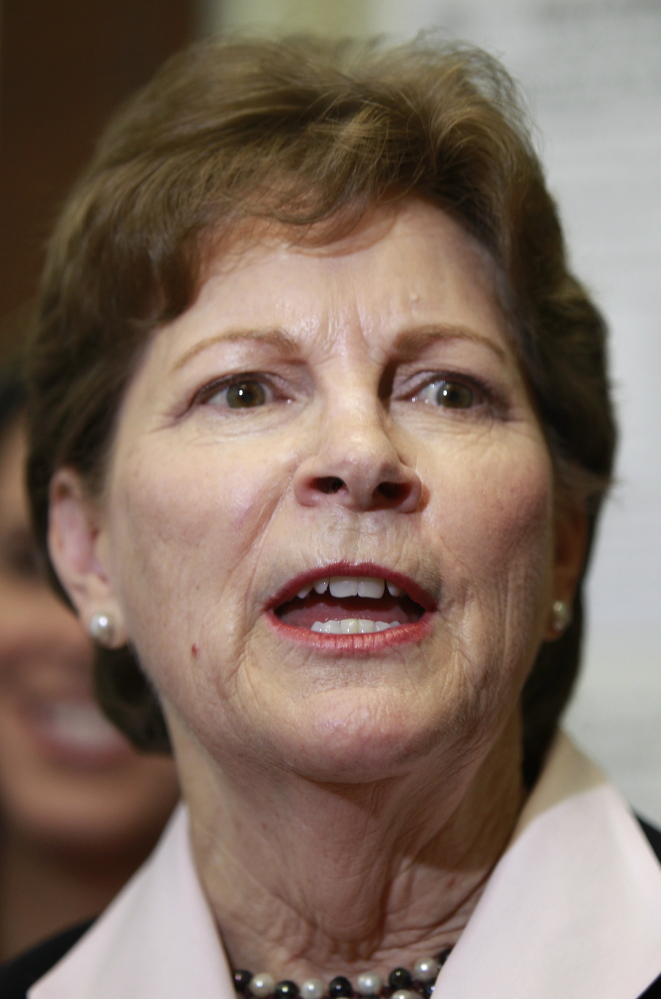 U.S. Sen. Jeanne Shaheen, D-N.H., talks about her plans if she wins re-election after filing her campaign paperwork to seek re-election at the Secretary of State's office in Concord, N.H.