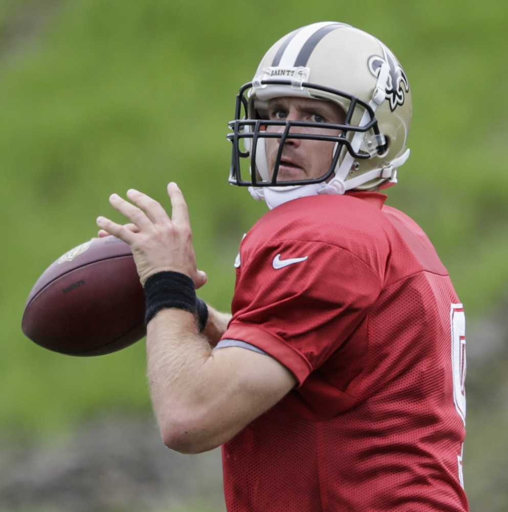 New Orleans Saints quarterback Drew Brees works out on his own during the 14th day of Saints training camp at the Greenbrier resort in White Sulphur Springs, W.Va. In the time-warped world of professional sports, anything past 30 opens conversations about players being past their prime. If you get to 35, well, then the geriatric jokes start flying.