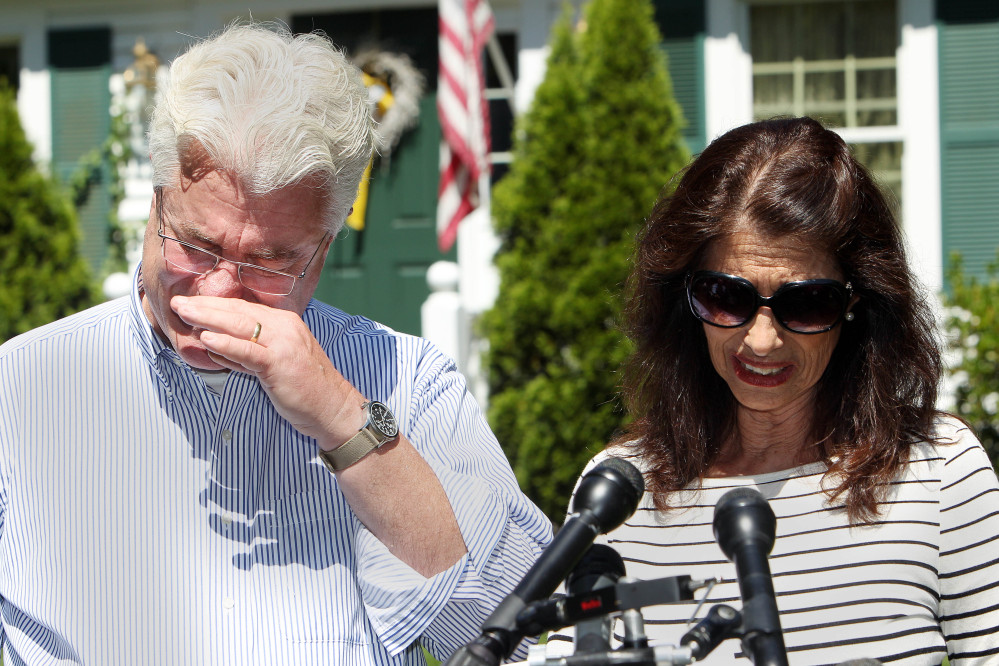 """The Associated Press John and Diane Foley talk to reporters after speaking with President Obama on Wednesday outside their home in Rochester, N.H. Their son, James Foley was abducted in November 2012 while covering the Syrian conflict and executed by Islamic extremists. Diane Foley called him """"an extraordinary son, journalist and person."""""""