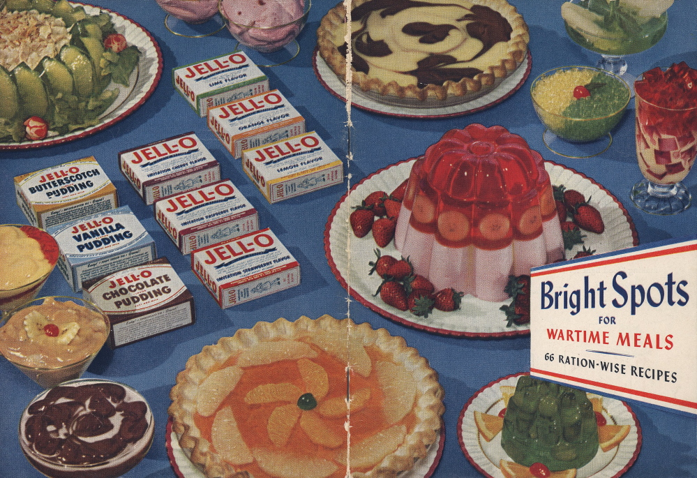 """This image provided by Kraft Foods shows the cover of """"Bright Spots for Wartime Meals,"""" a Jell-O recipe book published by General Foods in 1944. Despite its enduring place in pop culture, Jell-O sales have tumbled 19 percent from five years ago, with alternatives such as Greek yogurt surging in popularity.  (AP Photo/Kraft Foods)"""