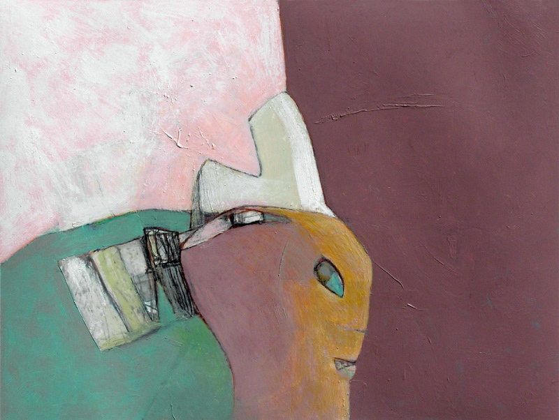 """David Estey, """"Woman with Comb,"""" acrylic and graphite."""