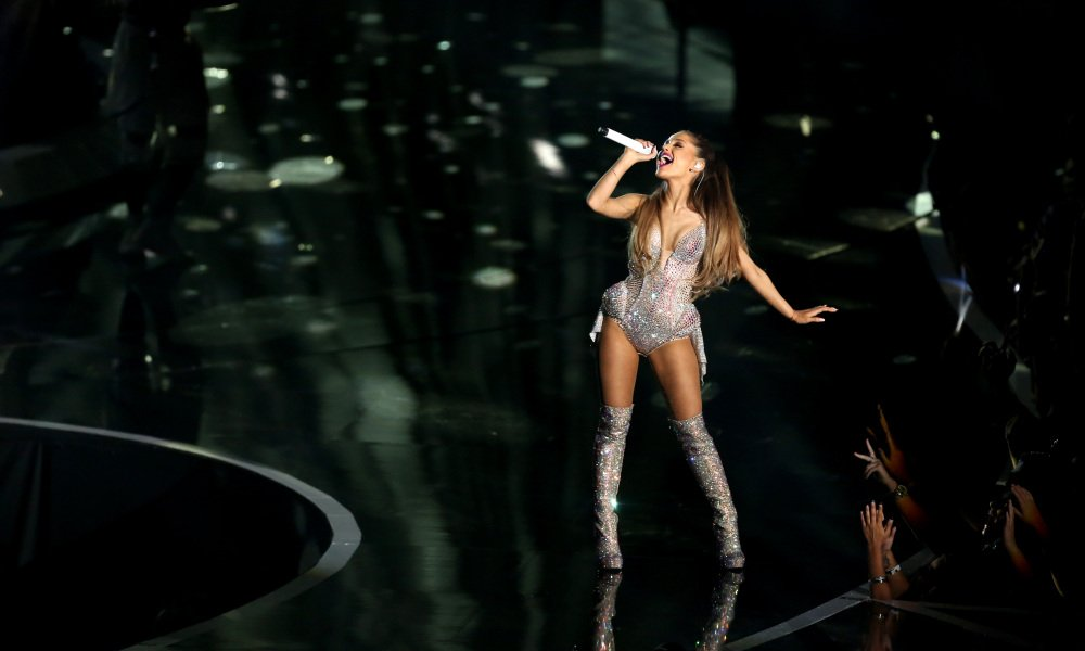 Ariana Grande performs at the MTV Video Music Awards in Inglewood, Calif., on Sunday.