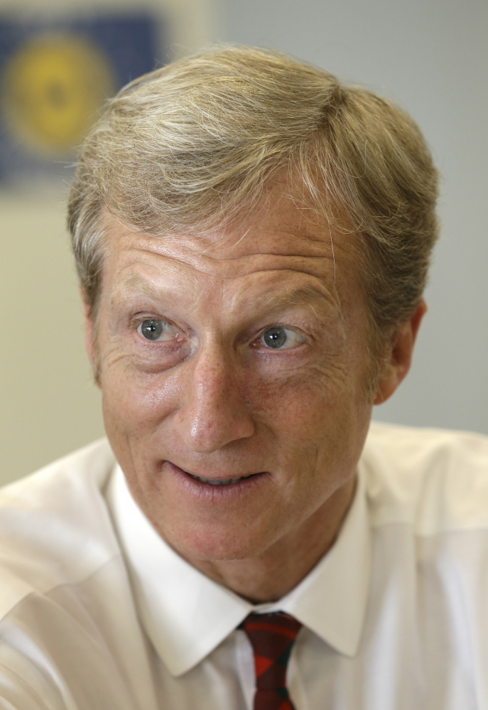 Businessman Tom Steyer speaks during a meeting to announce the launch of a group called Virginians for Clean Government at Virginia Commonwealth University in Richmond, Va., Wednesday, Sept. 25, 2013. The group was formed to explain the impact of CONSOL Energy not paying royalties to their family and neighbors as well as speaking out against Ken Cuccinelli's acceptance of $111,000 in CONSOL contributions.  (AP Photo/Steve Helber)