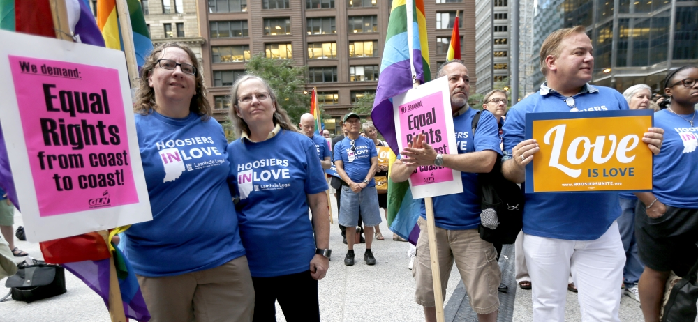 Supporters of gay marriage attend a rally outside a federal court that heard legal arguments in Chicago on Tuesday.